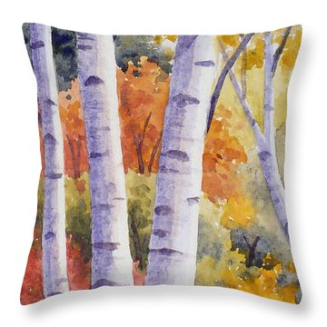 Paper Birches In Autumn Throw Pillow