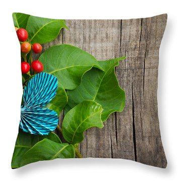 Paper Butterfly Throw Pillow by Aged Pixel