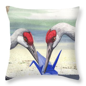 Paper Crane Throw Pillow