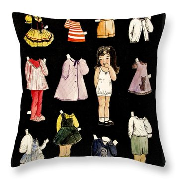 Paper Doll Amy Throw Pillow