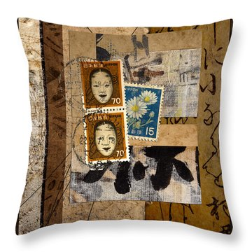 Paper Postage And Paint Throw Pillow by Carol Leigh