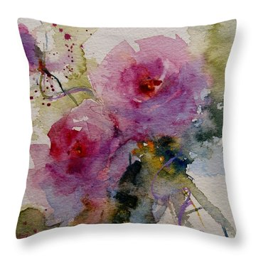 Paper Roses Throw Pillow