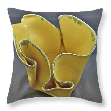 Throw Pillow featuring the sculpture Paper-thin Bowl  09-004 by Mario Perron