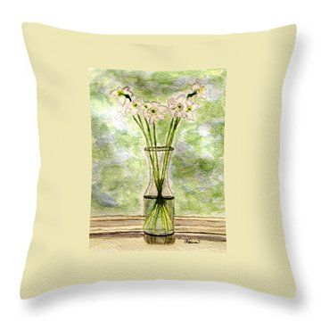 Throw Pillow featuring the painting Paper Whites In Sunlight by Angela Davies