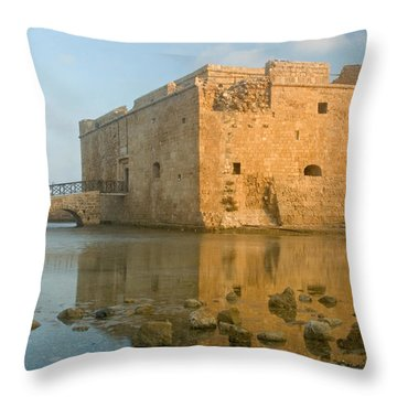 Paphos Harbour Castle Throw Pillow by Jeremy Voisey