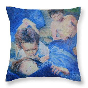 Throw Pillow featuring the painting Papo's Putti by Mark Robbins