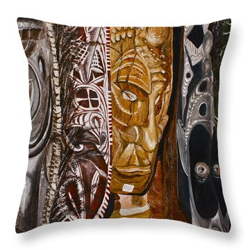Papua New Guinea Masks Throw Pillow