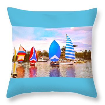 Parade Of Floating Colors Throw Pillow