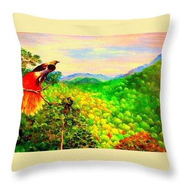 Paradise Bird Of Papua Throw Pillow