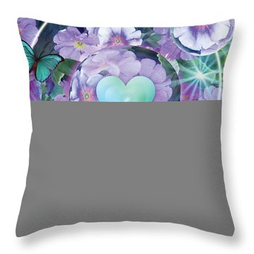 Paradise Garden Heart Throw Pillow by Alixandra Mullins