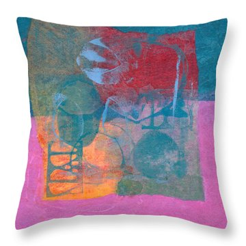 Throw Pillow featuring the mixed media Paradise Gardens by Catherine Redmayne