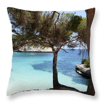 Paradise In Minorca Is Called Cala Mitjana Beach Where Sand Is Almost White And Sea Is A Deep Blue  Throw Pillow