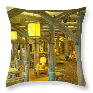Paradise Inn Lobby Throw Pillow