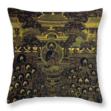 Paradise Of Holy Sakyamuni Throw Pillow