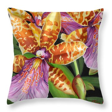 Paradise Orchid Throw Pillow