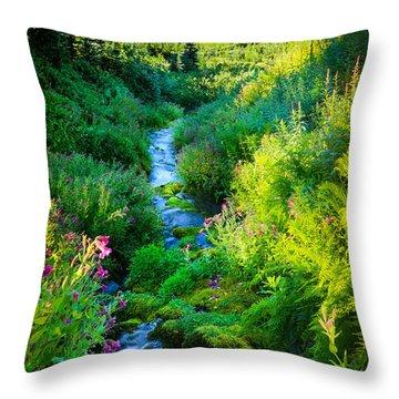 Paradise Stream Throw Pillow by Inge Johnsson