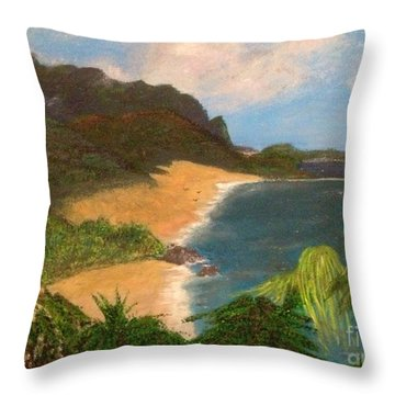 Throw Pillow featuring the painting Paradise by Vanessa Palomino