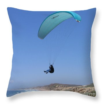 Paraglider Over Sand City Throw Pillow