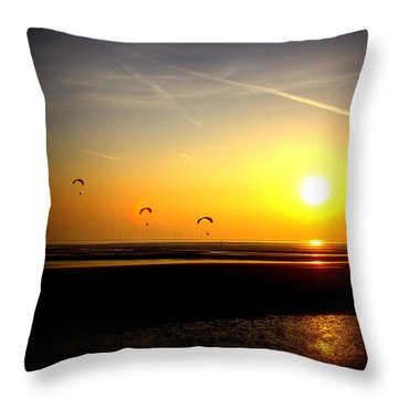 Paragliders At Sunset Throw Pillow