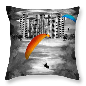 Paragliders Throw Pillow