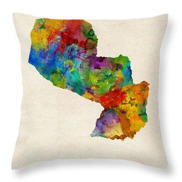Paraguay Watercolor Map Throw Pillow