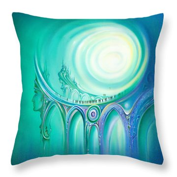 Throw Pillow featuring the painting Parallel Ways by Anna Ewa Miarczynska