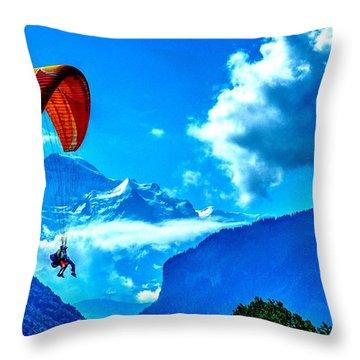 Throw Pillow featuring the photograph Parasailing Swiss Alps by Joe  Ng