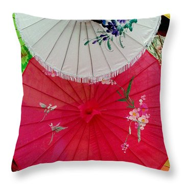 Parasols 1 Throw Pillow by Rodney Lee Williams