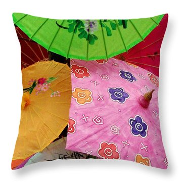 Parasols 2 Throw Pillow by Rodney Lee Williams