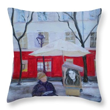 Paris Artist, 2010 Oil On Canvas Throw Pillow