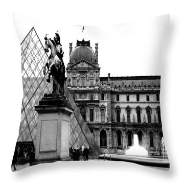 Paris Black And White Photography - Louvre Museum Pyramid Black White Architecture Landmark Throw Pillow by Kathy Fornal