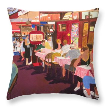 Paris Cafe At Dusk Throw Pillow