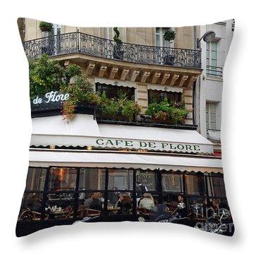 Paris Cafe De Flore - Paris Fine Art Cafe De Flore - Paris Famous Cafes And Street Cafe Scenes Throw Pillow