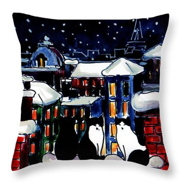 Paris Cats Throw Pillow