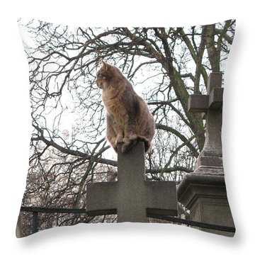 Paris Cemetery Cats - Pere La Chaise Cemetery - Wild Cats On Cross Throw Pillow by Kathy Fornal