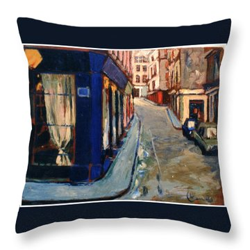 Throw Pillow featuring the painting Paris Cityscape by Walter Casaravilla