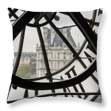 Paris Clock Throw Pillow