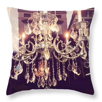 Paris Crystal Chandelier Sparkling Lights - Golden Paris Chandelier Window Reflections Throw Pillow