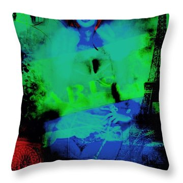 Throw Pillow featuring the digital art Paris  by Diana Riukas
