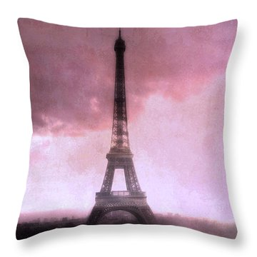 Paris Dreamy Pink Eiffel Tower Abstract Art - Romantic Eiffel Tower With Pink Clouds Throw Pillow by Kathy Fornal