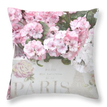 Shabby Chic Paris Pink Flowers, Parisian Shabby Chic Paris Flower Box - Paris Floral Decor Throw Pillow