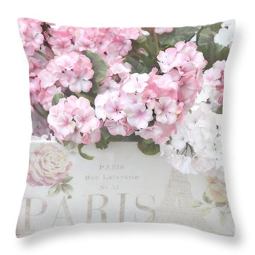Paris Dreamy Romantic Cottage Chic Shabby Chic Paris Flower Box Throw Pillow by Kathy Fornal