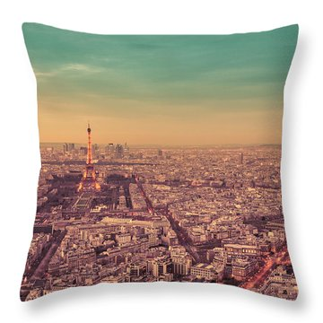 Paris - Eiffel Tower And Cityscape At Sunset Throw Pillow by Vivienne Gucwa