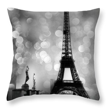 Paris Eiffel Tower Surreal Black And White Photography - Eiffel Tower Bokeh Surreal Fantasy Night  Throw Pillow by Kathy Fornal