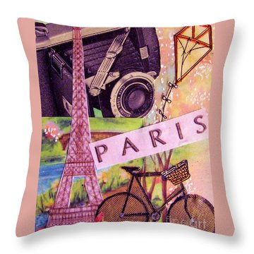Throw Pillow featuring the drawing Paris  by Eloise Schneider