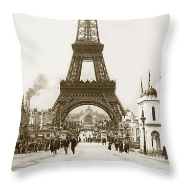Throw Pillow featuring the photograph Paris Exposition Eiffel Tower Paris France 1900  Historical Photos by California Views Mr Pat Hathaway Archives