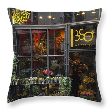 Paris Flower Shop Throw Pillow by Glenn DiPaola