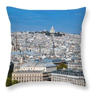 Paris France Sacre-coeur Basilica Throw Pillow by Michal Bednarek