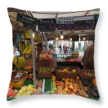 Paris Fruit Market Throw Pillow