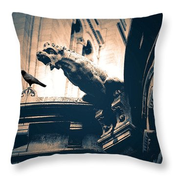 Paris Gargoyles - Gothic Paris Gargoyle With Raven - Sacre Coeur Cathedral - Montmartre Throw Pillow by Kathy Fornal